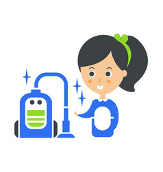 cleanup service maid and vacuum cleaned floor vector image