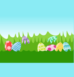 colored easter eggs pattern with different style vector image