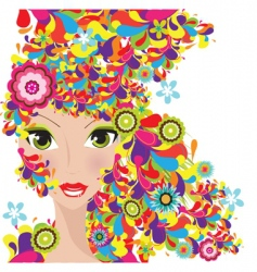 colorful hair women vector image