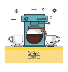 colorful poster of coffee shop with coffee maker vector image