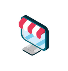 computer online shopping isometric icon vector image