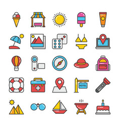 Creative flat icons set hotel and travel vector