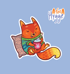 cute baby fox with coffee cute decorative patch vector image