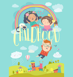 Cute children with rainbow happy childhood vector