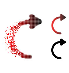 Destructed pixel halftone rotate cw icon vector