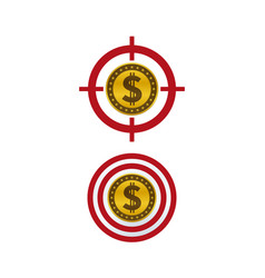 dollar coin on target vector image
