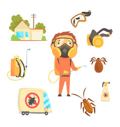 exterminators of insects in orange chemical vector image