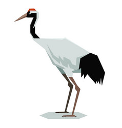 flat polygonal red-crowned crane vector image