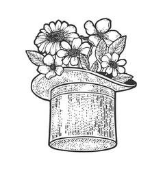 flowers in top hat sketch vector image