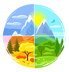 Four seasons landscape with trees vector