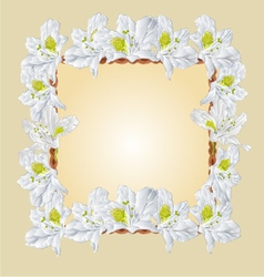 Frame with white Rhododendron greeting card vector