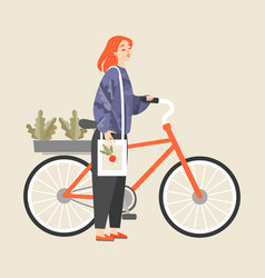 girl next to a bike with boxes of seedlings vector image