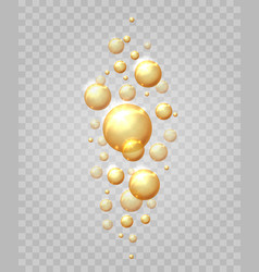 gold bubbles drop set vector image