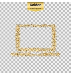Gold glitter icon of computer isolated on vector