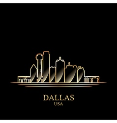 Gold silhouette of Dallas on black background vector
