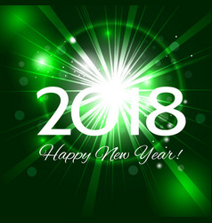 green fireworks with greetings happy new year 2018 vector image