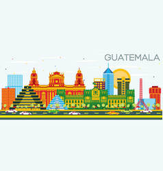 guatemala skyline with color buildings and blue vector image
