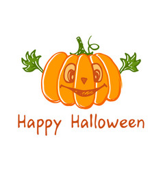 halloween pumpkin sketch drawing with leaves vector image