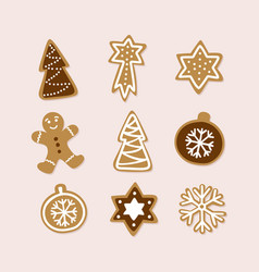 hand drawn collection traditional christmas vector image