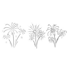 Hand drawn set of fireworks vector