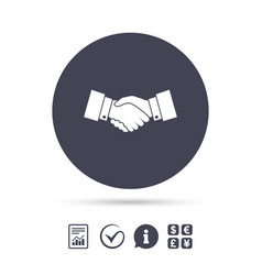 handshake sign icon successful business symbol vector image