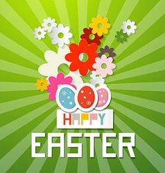 Happy Easter with Paper Cut Flowers and Eggs vector image