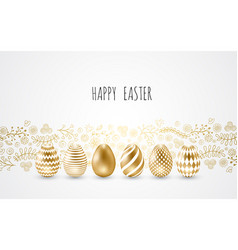 happy easterset of easter eggs with different vector image