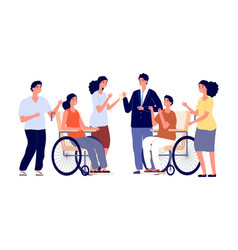 Healthy and disabled people man woman vector