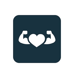 Heart with muscle arms icon Rounded squares button vector