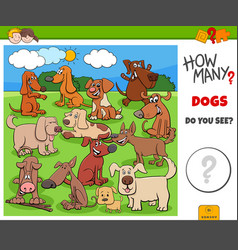 How many dogs and puppies educational task for vector