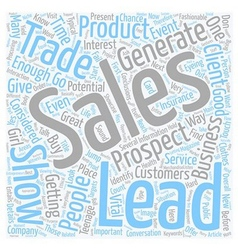 How to get sales leads at trade shows text vector
