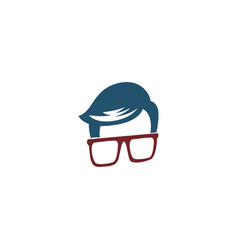 Human eyeglass logo concept vector