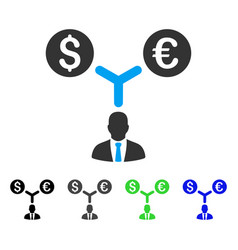 International currency manager flat icon vector