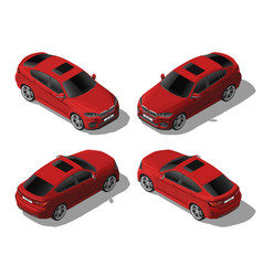Isometric red off-road car set different sides vector