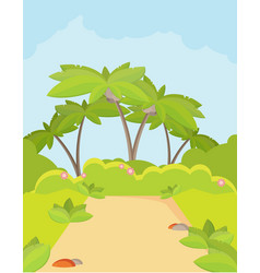 Jungle forest green landscape with road path and vector
