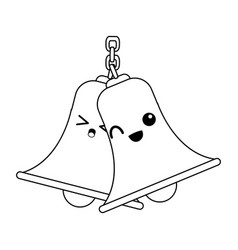 Kawaii bells hanging on chain instrument sound vector