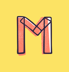 Kid style letter m logo hand-drawn with a marker vector