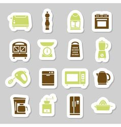Kitchen appliances and tools stickers vector
