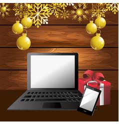 laptop gift cartoon vector image