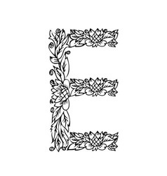 letters floral e vector image