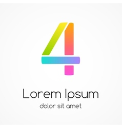 Logo number 4 company design template vector