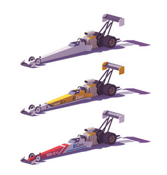 Low poly top fuel dragsters vector