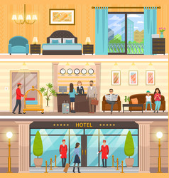luxurious hotel exterior reception and room set vector image