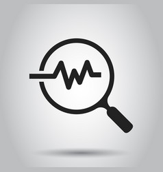 Magnifying glass icon with pulse business vector