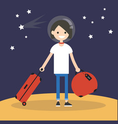 Mars colonization young teenage girl moving vector