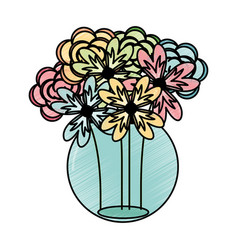 mason jar with flowers isolated icon vector image