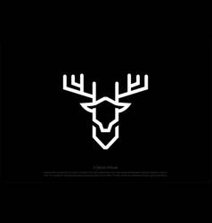 Minimalist deer antler monogram line outline logo vector