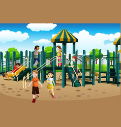 Multi-ethnic kids playing in the playground vector