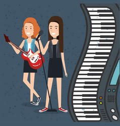 music festival live with women playing electric vector image