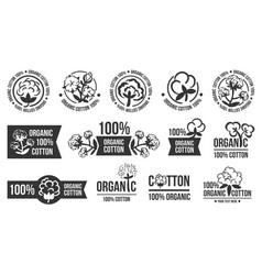 Natural organic cotton pure cotton labels vector